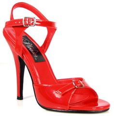 #Pleaser Shoes Seduce-106 Red #Bright red sandals with adjustable single toe strap with metallic buckle detail in the middle, front flat sole, tone-to-tone red cushioning for an uniform look and ankle strap with metallic buckle closure on side and supporting straps. The look is completed by the sexy 5 inch (12.5 cm) high stiletto heels in matching red colour.