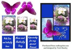 This is a very pretty 3D card front that can be sent for many ages, and for many reasons. Has 3 labels . With love and butterfly kisses. Have a butterfly day. Especially for my special Friend.