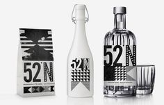 """I Love Dust worked with interior designers 44th Hill on the branding for 52 North, a London based bar and restaurant, creating large letterpress style murals to cover the walls as well as all printed collateral and products."""