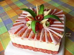 Recept a další foto zde: http:& Creative Kitchen, Creative Food, Party Sandwiches, Sandwich Cake, Fruit Recipes, Cake Recipes, Pain Surprise, Meat Cake, Veggie Cakes