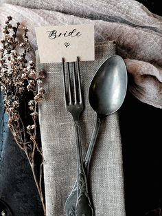 Wedding Fork Place Cards Wedding Place Cards Heart Place