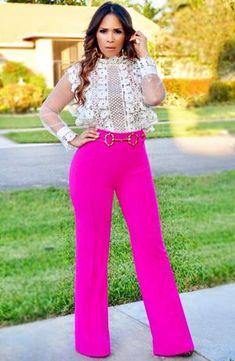 Eleanor hoop buckle high waist pants - hot pink - my sexy styles. Pink Pants Outfit, Hot Pink Pants, Older Women Fashion, Womens Fashion, 50 Fashion, Cheap Fashion, Fashion Styles, Fashion Brands, Fashion Hats