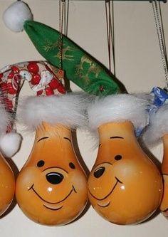 christmas ornaments made from light bulbs   Pooh lightbulb