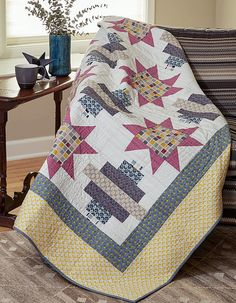 Stellar has a really neat design that catches the eye with its large stars and strippy quilt blocks. This bed-size quilt pattern is made to impress!