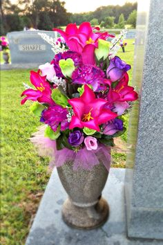Spring flowers arrangement for a cemetery vase my creations spring summer cemetery vase arrangement mightylinksfo Choice Image