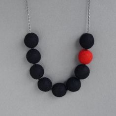 Black Necklace  Black and Red Felt Necklace  by annakingjewellery