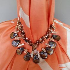 Please Pin if you like this new design!   See What's New in the Bling Box!  Check out my 20% OFF Sale!!!! Use Code: 20OFF  Freshwater Pearl Necklace, Multi Strand Statement Necklace, Chunky Necklace, Bib Necklace, Collar Necklace, OOAK, Iris Apfel Wow Factor! #bestbeadedbling