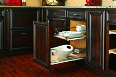 """Introduce your kitchen to luxury with Rev-A-Shelf's maple pullout baskets with soft-close. This gorgeous product can be side or bottom mounted and is available in three sizes for 18"""", 24"""", and 36"""" base cabinets."""