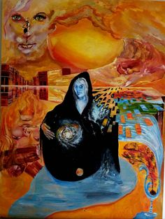 Heaven and Hell Heaven And Hell, Space Time, Surreal Art, Surrealism, Oil On Canvas, Beautiful Pictures, Painting, Painted Canvas, Painting Art