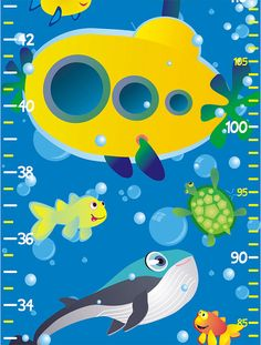 Yellow Submarine growth / height chart - removable wall decal - by babygraphics on Etsy, $9.99