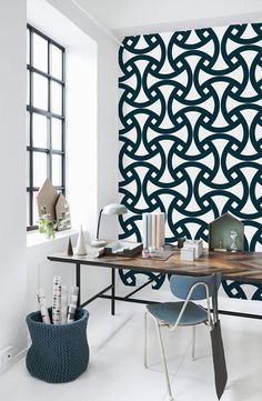 Self adhesive geometric pattern wallpaper