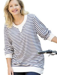 Ulla Popken Plus Size French Terry Striped Sweatshirt - White/Navy, 16/18 Machine wash. 100% cotton. Length: 32. Item #31546.  #Ulla_Popken #Apparel