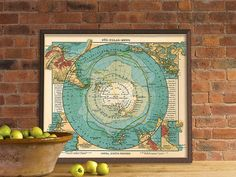 Antarctica  map - Vintage map restored - Map of Antarctica - Archival reproduction on Etsy, $30.00