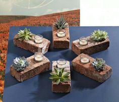 Inventive brick table decoration