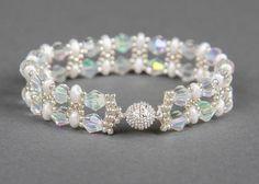 Handmade beautiful bracelet with Swarovski Bicone Crystal AB 6 mm and Super Duo…