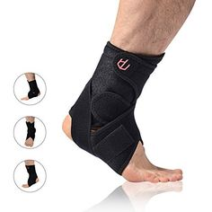 UncleHu Ankle Brace with Breathable Adjustable Ankle Stabilizer Support for Sports Injury Recovery & Sprain Protection, Football, Basketball, Tennis, Running, Men & Women-Kid's Size Black