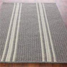 French Feedsack Striped Rug 10' square, French gray and cream stripe