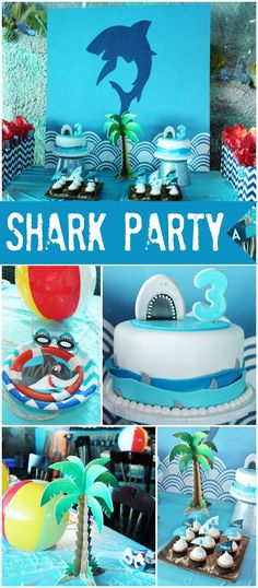 Check out this shark party held at an aquarium! See more party ideas at CatchMyParty.com!