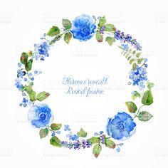 Округлая оправа of watercolor blue цветы и ягоды. роялти-фри стоковая…