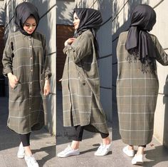 This scarf is an essential item while in the garments of females with hijab. Hijab Style Dress, Modest Fashion Hijab, Modern Hijab Fashion, Street Hijab Fashion, Casual Hijab Outfit, Hijab Chic, Muslim Fashion, Hijab Style Tutorial, Hijab Fashionista
