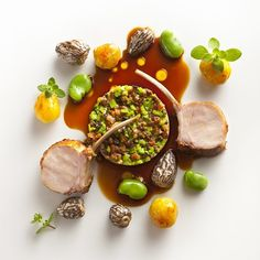 Marjoram roasted rack with morel panna cotta and fava beans by chef Daniel Humm of restaurant Eleven Madison Park from New York #TheArtOfPlating
