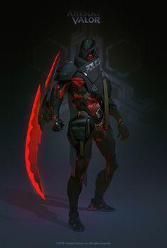 奎仑 (Arena of Valor) Fantasy Character Design, Character Design Inspiration, Character Concept, Character Art, Robot Concept Art, Armor Concept, Weapon Concept Art, Futuristic Armour, Futuristic Art