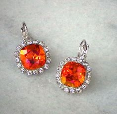 Swarovski  crystal 10mm fancy square stone earrings pink astral by CrystallizedByLena, $25.00