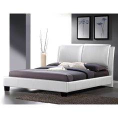 [$641.99] Sabrina White Modern King-size Bed with Overstuffed Headboard | Overstock.com