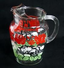 Vintage Anchor Hocking Glass Pitcher Red Rose Older Design Pattern Ice Lip 2 Qt