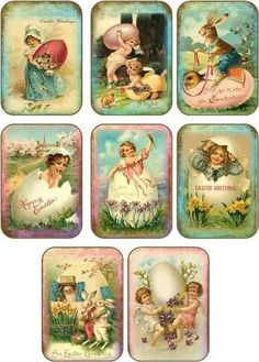 Vintage Easter 8 bunny girl eggs angel antique pictures tags scrapbooking