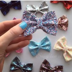 """New 3"""" chunky glitter bows! The perfect size with the perfect amount of sparkle!!!"""