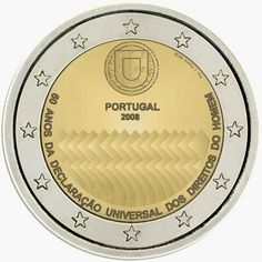 2 Euro Commemorative Coins: 2 euro Portugal 2008, 60th Anniversary of the Universal Declaration of Human Rights