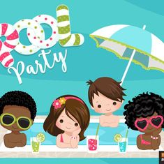 So Cute Images, Fruit Cocktail Drink, Backyard Pool Parties, Pool Party Themes, Plakat Design, Fiesta Decorations, Fruit Illustration, Kid Pool, Water Party