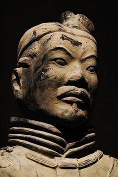 Detail of one of the thousands of soldiers of the Terracotta Army buried with emperor Qin Shi Huang (210-209 BC, Lintong District, Xi'an, Shaanxi province, China)
