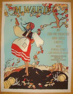 2012 M. Ward - Chicago Silkscreen Concert Poster by Fugscreens