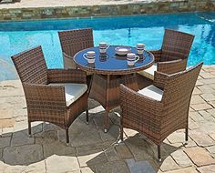 Suncrown Outdoor Furniture AllWeather Wicker Round Dining Table and Chairs Set Washable Cushions Patio Backyard Porch Garden Poolside Tempered Glass Tabletop Modern Design >>> See this great product. (This is an affiliate link ).