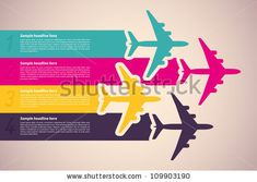 Background with colorful airplanes. Vector illustration. by Laralova, via ShutterStock