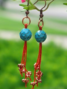 Lily and Jasmine Treasures: Earrings -  Faceted reconstituted turquoise with waxed linen and copper spacers