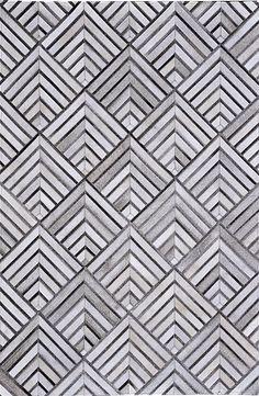 Madisons Geometric Grey Patchwork Cowhide Rug