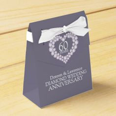 Diamond wedding heart 60 years thank you favor box
