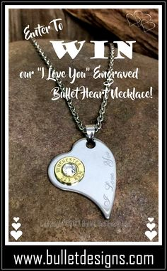 """Enter to win our """"I Love You"""" Engraved Heart Bullet Necklace!  https://www.facebook.com/bulletdesigns/  https://bulletdesigns.com/products/i-love-you-engraved-heart-bullet-necklace"""