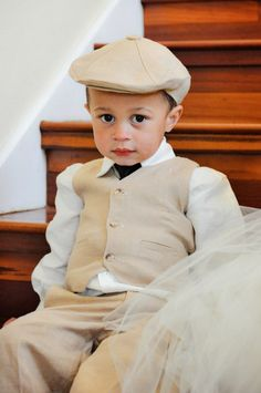 Linen Hat, Pants and vest ring bearer baptism baby boy suit birthday boy suit christening