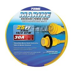 Prime MAR30925 Marine Dockside Power Cord, 25 ft. 30 Amp Twist-To-Lock, Yellow by Prime. $67.29. From the Manufacturer                This Prime Marine Power Cord enables a connection between a boat with a 30 Amp power inlet and a 30 Amp power source at the dock.  It features a heavy duty marine grade Twist-to-Lock plug and connector with a waterproof seal. The cord is flexible in temperatures from -40 degrees F to 140 degrees F.  It is heavy duty, super abrasion resist...