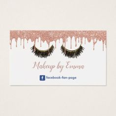 Makeup Artist Chic Lashes Modern Rose Gold Drips Business Card - rose style gifts diy customize special roses flowers