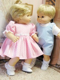 Pink and Blue PinDot Outfits for Bitty Baby Twins Dolls