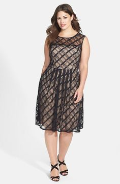 Adrianna Papell 'Sweetheart' Plaid Lace Dress (Plus Size) available at #Nordstrom