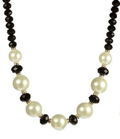 """Save $29.64 on Black Glass and White Shell with Rhinestone Rondelle Accents Necklace 18""""; only $27.35"""