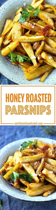 Honey Roasted Parsnips! Perfect for Christmas dinner or as a side dish to grilled chicken! Get the recipe at nutritionistmeetschef.com