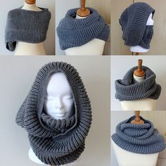 Knitting Pattern Oxford Hooded Cowl pdf file by loasidellamaglia***NO shipping charge for this item as it is a PDF file. All files are emailed out within 24 hours of payment.Cozy hoods keep you warm without messing with your hairstyle. Loom Knitting, Knitting Patterns Free, Knit Patterns, Knit Crochet, Crochet Hats, Hooded Cowl, Diy Clothes, Oxford, Knitted Hats