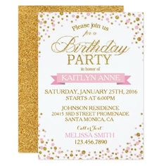 131 best glitter birthday party invitations images on pinterest glitter birthday party invitations sparkle pink and gold glitter dots birthday card filmwisefo